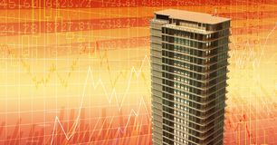 Tall buildings with economic finance background. Digital composite of Tall buildings with economic finance background Stock Image