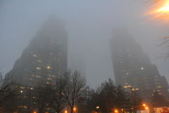 Tall buildings in the fog. This is a shot of the three buildings in Belgrade Stock Photo