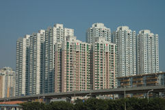 The tall buildings for housing in City Royalty Free Stock Photo