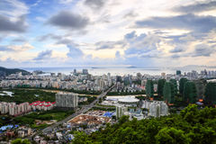 Tall buildings overlooking the seaside city Stock Photo