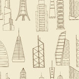 Tall buildings seamless retro vector. Vector line art Doodle set of cartoon characters and objects tall buildings. Tower blocks seamless retro Royalty Free Stock Photo