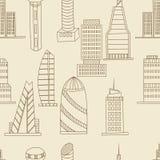 Tall buildings seamless retro vector stock illustration