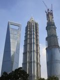 3 Tall Buildings in Shanghai, Including the Third Tallest Building in the World. The Shanghai World Financial Center (on the left) is the third tallest building Stock Image