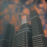 Tall buildings at sunset Stock Image