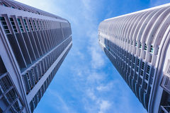 Tall Buildings. Twin tall buildings and sky stock photos