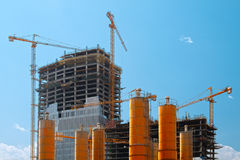 Tall buildings under construction Royalty Free Stock Photography