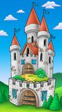 Tall castle with fortification. Color illustration Stock Photo