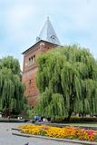 Tall castle surrounded by the green willows in Drohobych Royalty Free Stock Photography
