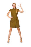 Tall caucasian model in green dress isolated on white Stock Images