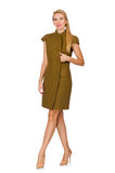 Tall caucasian model in green dress isolated on white Royalty Free Stock Photo