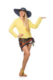 The tall caucasian model wearing hat isolated on white Stock Photo