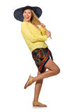 The tall caucasian model wearing hat isolated on white Stock Image