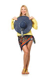 The tall caucasian model wearing hat isolated on white Stock Images