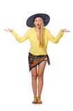 The tall caucasian model wearing hat  on white Stock Photos