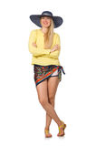 Tall caucasian model wearing hat  on white Royalty Free Stock Photo