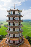 Tall Chinese Pagoda. Tham Khao noi Temple Kanchanaburi Thailand Stock Photos