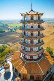Tall Chinese Pagoda in Wat Tham Khao Noi temple. Kanchanaburi, Thailand Royalty Free Stock Images