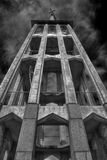 Tall church tower. In black and white Stock Photography