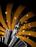 Tall city buildings and stars. Illustration of tall city buildings and a tower, shiny stars above them, vector format available Royalty Free Stock Photo
