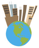 Tall city on top of a globe Royalty Free Stock Image