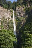 Tall Cliffside Northeast Waterfall with Trees. A narrow but tall waterfall coming down a rocky cliffside in the American Northeast, with trees in the foreground Stock Photography