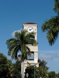 Tall Clock Tower Blue Sky and Trees Royalty Free Stock Photography