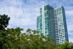 Tall condominium or apartment. Building in the city Royalty Free Stock Photos