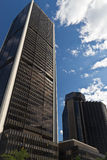 Tall downtown business buildings on a summer day Royalty Free Stock Images