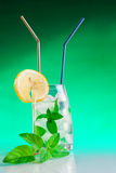 Tall drink with mint and ice Stock Photo