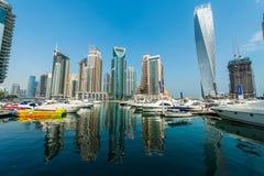 Tall Dubai Marina skyscrapers Stock Images