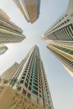 Tall Dubai Marina skyscrapers in UAE Stock Photo