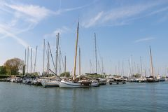 Dutch sailing ships in the marina stock photography