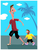 Tall and dwarf. Illustrated image with background Royalty Free Stock Image