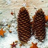 Tall elegant Christmas pine cones Royalty Free Stock Photo
