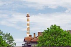 Tall Factory Chimney Stock Photo