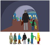 Tall father and child in transport vector illustration