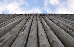 Tall Fortress Wooden Wall stock images