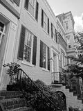 Tall Georgetown Homes in Black and White Royalty Free Stock Photo