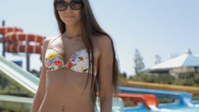 Tall girl with a beautiful figure moves the body stock video