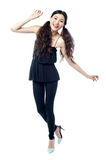 Tall girl dancing and having fun Royalty Free Stock Photo