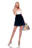 Tall girl after good shopping Stock Photo