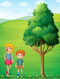 A tall girl with her brother at the hilltop. Illustration of a tall girl with her brother at the hilltop Royalty Free Stock Photos