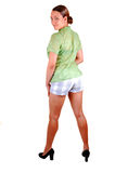 Tall girl in shorts. Stock Image