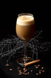 Tall glass with alcohol coffee cocktail. On the black table wit cinnamon, coffee beans and thorns Stock Image