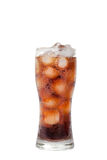 Tall glass with cola drink with chunks of ice isolated on white Stock Photo