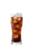 Tall glass with cola drink with chunks of ice isolated on white Stock Photos