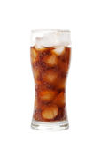Tall glass with cola drink with chunks of ice isolated on white Royalty Free Stock Photos