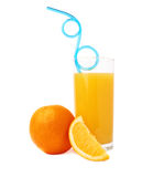 Tall glass filled with the orange juice with Royalty Free Stock Image