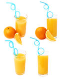 Tall glass filled with the orange juice with curved blue plastic drinking straw inside and fruits, composition isolated Royalty Free Stock Photography