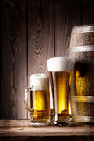 Tall glass and mug beer Royalty Free Stock Photos